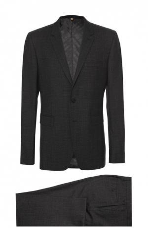 Шерстяной приталенный костюм Burberry. Цвет: темно-серый