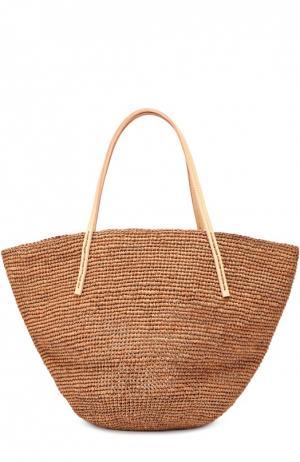 Плетеная сумка Kapity medium из рафии Sans-Arcidet. Цвет: коричневый