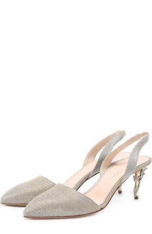 Туфли из металлизированного текстиля на шпильке с декором Oscar de la Renta. Цвет: серебряный