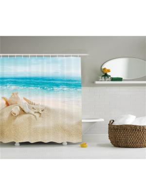 Фотоштора для ванной Ракушки на песке, оранжевые деревья у водопада, Эйфелева башня, русалка со скр Magic Lady. Цвет: бежевый, голубой