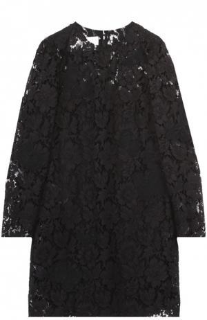 Кружевное мини-платье с вышивкой в виде бабочек Valentino. Цвет: черный