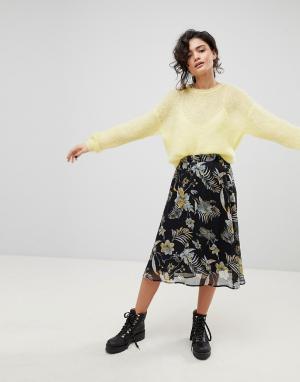 Gestuz Черная юбка миди с цветочным принтом. Цвет: мульти