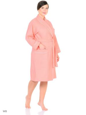 Халат вафельный GrandStyle. Цвет: розовый