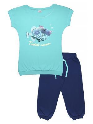 Комплект женский (футболка, бриджи) Family Colors. Цвет: бирюзовый