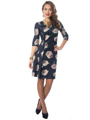 Платье Wisell. Цвет: синий, бежевый
