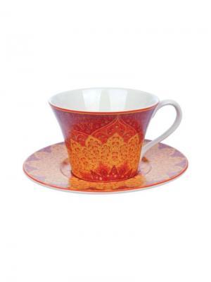 Чашка с блюдцем, Гуджарат, 250 мл Elff Ceramics. Цвет: оранжевый,белый