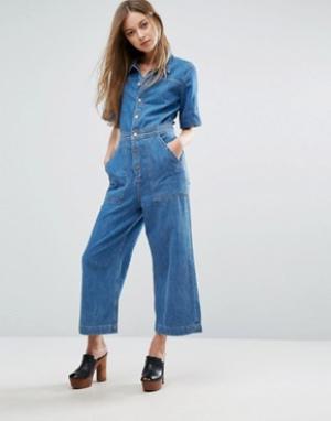 MiH Jeans Джинсовый комбинезон с широкими укороченными штанинами M.i.h. Цвет: синий
