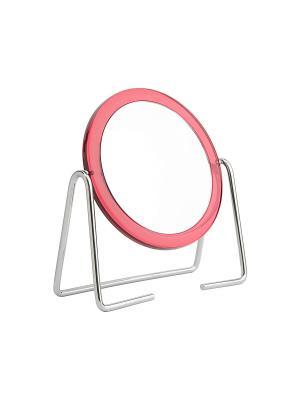 Зеркало Beiron 010L настольное, двустороннее, d 13см, x3. Цвет: розовый
