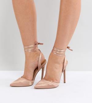 ASOS Туфли для широкой стопы на высоком каблуке PIED PIPER. Цвет: бежевый