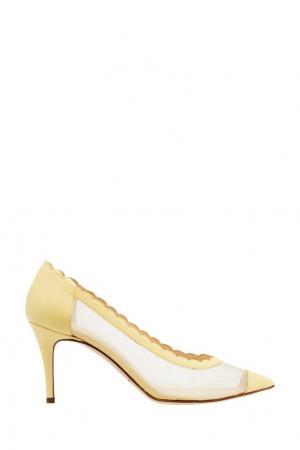 Сетчатые туфли с желтой отделкой Bionda Castana. Цвет: желтый