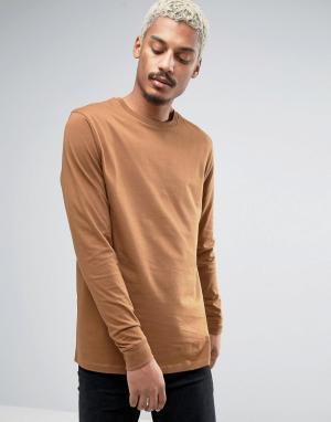 ASOS Светло-коричневый удлиненный лонгслив. Цвет: оранжевый