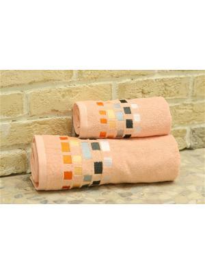 Набор махровых полотенец МИЛАН персик (50*90+70*140) TOALLA. Цвет: персиковый