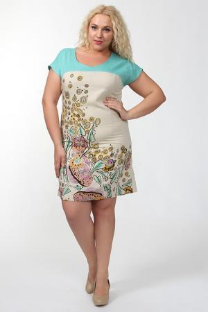 Комбинированное летнее платье QNEEL Q'NEEL. Цвет: голубой, бежевый