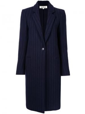 Однобортное пальто в полоску Enföld. Цвет: синий