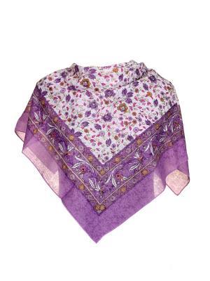 Платок Живой Шелк. Цвет: фиолетовый, белый