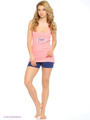 Комплект одежды Vienetta Secret. Цвет: темно-синий, розовый