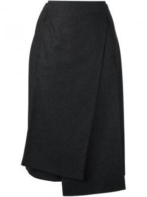Асимметричная юбка с запахом Jil Sander. Цвет: серый