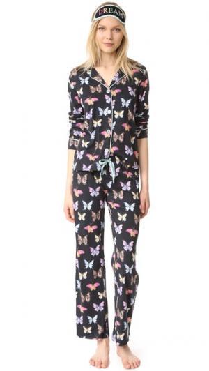 Пижама с принтом в виде бабочек PJ Salvage. Цвет: голубой