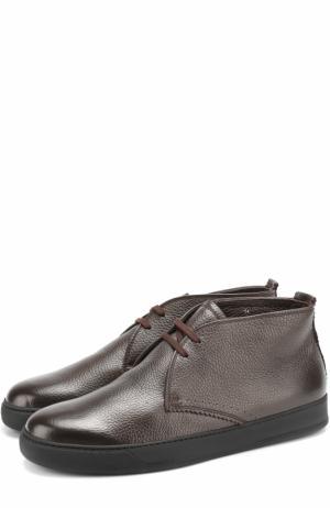 Кожаные ботинки на шнуровке с внутренней меховой отделкой H`D`S`N Baracco. Цвет: темно-коричневый