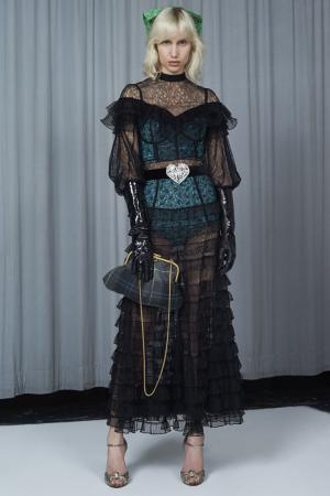 Платье-макси с оборками Alessandra Rich. Цвет: черный