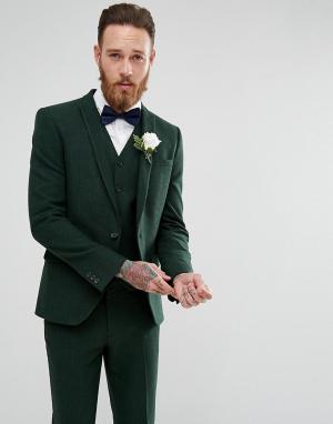 ASOS Зеленый пиджак скинни Wedding. Цвет: зеленый