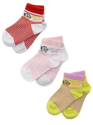 Носки Детские,комплект 3 пары DAG. Цвет: салатовый, белый, красный