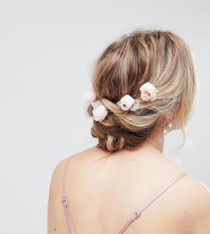 ASOS Набор заколок для волос с цветами (6 шт.) DESIGN. Цвет: розовый