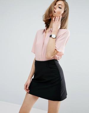 ASOS Мягкая рубашка с короткими рукавами DESIGN. Цвет: черный