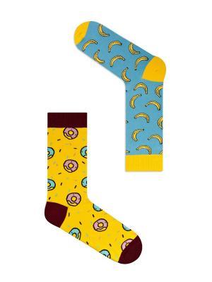 Набор Банановый пончик (2 пары в упаковке), дизайнерские носки SOXshop. Цвет: голубой, желтый