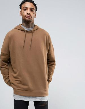 ASOS Коричневый oversize-худи. Цвет: коричневый