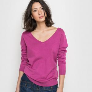 Пуловер с длинными рукавами и декольте сзади R édition. Цвет: ярко-розовый