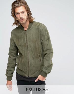 Black Phoenix Замшевая зеленая куртка-пилот. Цвет: зеленый