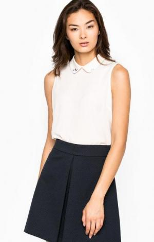 Блуза из полиэстера с отложным воротником Kocca. Цвет: молочный