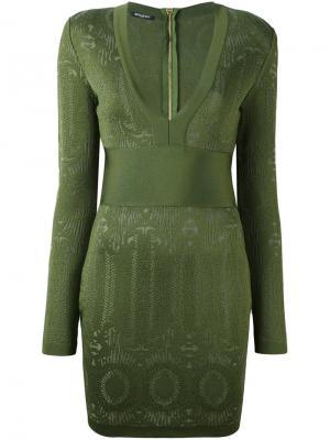 Облегающее платье с V-образным вырезом Balmain. Цвет: зелёный
