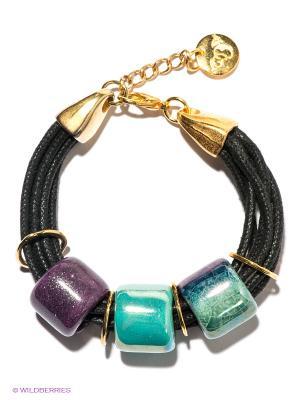 Браслет by Dziubeka. Цвет: бирюзовый, фиолетовый, черный
