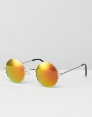 Jeepers Peepers Круглые солнцезащитные очки с желтыми стеклами. Цвет: серебряный