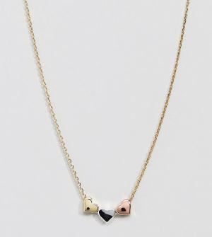 Orelia Ожерелье с тремя сердечками. Цвет: золотой