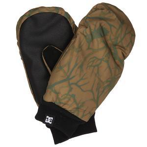 Варежки сноубордические DC Flag Mitt Antlers Shoes. Цвет: черный,зеленый,коричневый