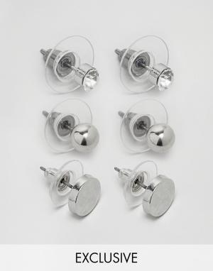 DesignB London Набор из 3 пар серебристых серег-гвоздиков. Цвет: серебряный