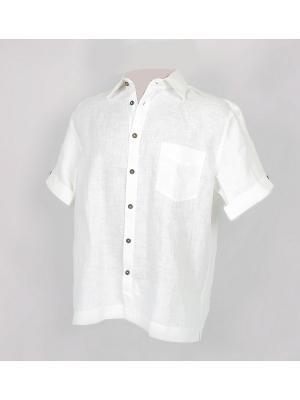 Сорочка мужская с коротким рукавом из 100% льна Navigator Nordsilk. Цвет: белый