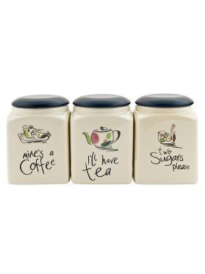Набор из 3-х банок для сыпучих продуктов Elff Ceramics. Цвет: бежевый