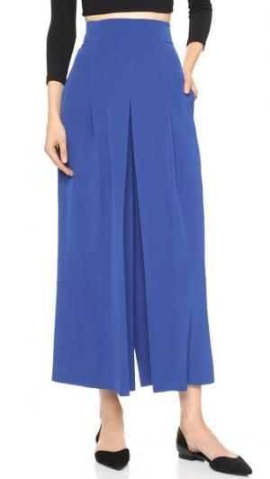 Плиссированная юбка-брюки из тяжелого шелка Tibi. Цвет: протонный синий