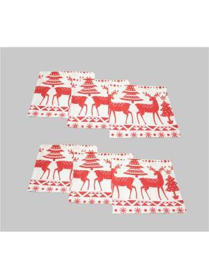 Салфетки Рождественский лес, 6 шт BELLINO HOME. Цвет: красный, белый
