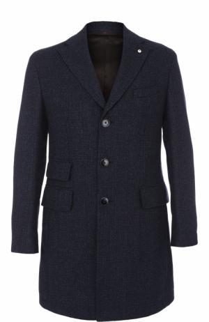 Однобортное шерстяное пальто с отложным воротником L.B.M. 1911. Цвет: темно-синий