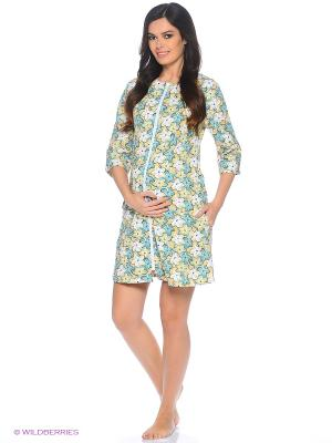 Халат женский для беременных и кормящих Hunny Mammy. Цвет: зеленый, бежевый, белый