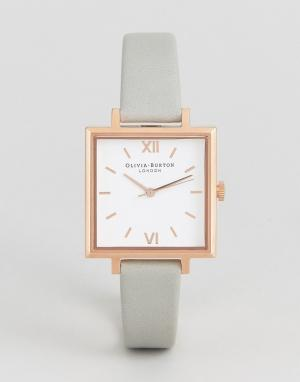 Olivia Burton Серые часы с большим квадратным циферблатом. Цвет: серый