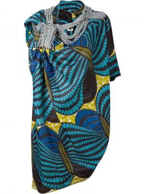 Платье с цепочной отделкой Junya Watanabe Comme Des Garçons. Цвет: синий