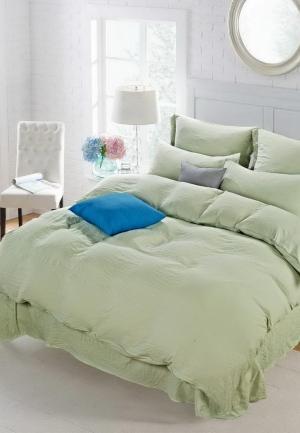 Комплект постельного белья Евро Sofi De Marko. Цвет: зеленый
