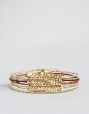 ASOS Набор браслетов с золотистыми бусинами. Цвет: мульти