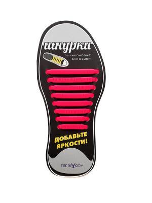 Cиликоновые шнурки TERRITORY. Цвет: розовый